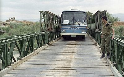 File photo of the Allenby Bridge (also known as the King Hussein Bridge), a major land crossing between Israel and Jordan. (photo credit: Flash90)