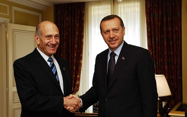Erdogan and Olmert during happier times at the Elysee Palace in Paris, some five months before Operation Cast Lead (Photo credit: Avi Ohayon/ GPO/ Flash 90)