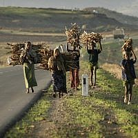 Ethiopian workers carry woods, May, 2008. (photo credit: Michal Fattal/Flash90)