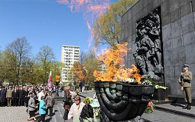 A memorial ceremony for the Warsaw Ghetto heroes in Warsaw, Poland. April 19, 2009. (photo credit: Moshe Milner/GPO/Flash90)