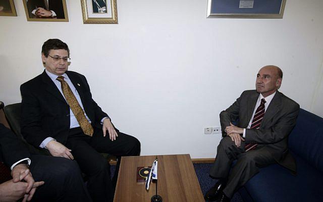 Turkish ambassador to Israel Ahmet Oguz Celikkol, right, on the low chair (Photo credit: Abir Sultan/ Flash 90)