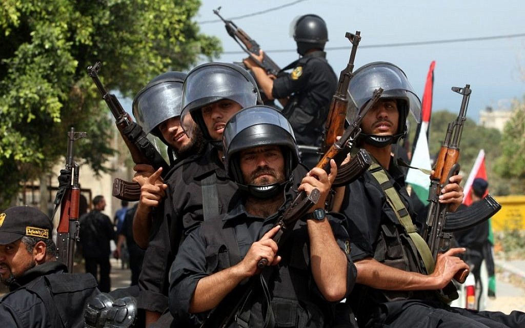 Hamas security men parade in Gaza city (photo credit: Wissam Nassar/Flash90)