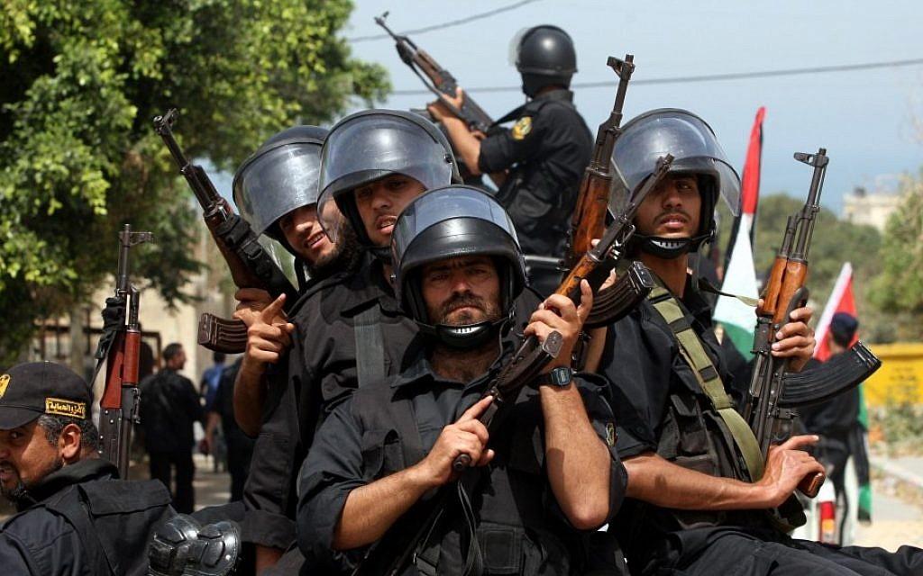 Hamas security men parade in Gaza city (photo credit: Wissam Nassar/Flash90)
