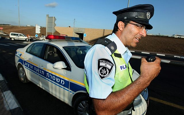 Traffic policemen at work. September 29, 2010. (Moshe Shai/Flash90)