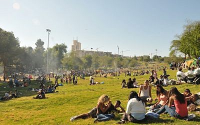People picnicking and barbecuing in Jerusalem's Sacher Park on Independence Day 2011 (photo credit: Sophie Gordon/Flash 90)