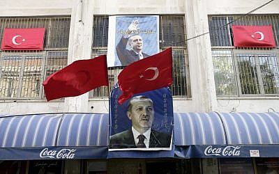 Turkish flags and a photo of the prime minister outside of an east Jerusalem restaurant (Photo credit: Uri Lenz/ Flash 90)