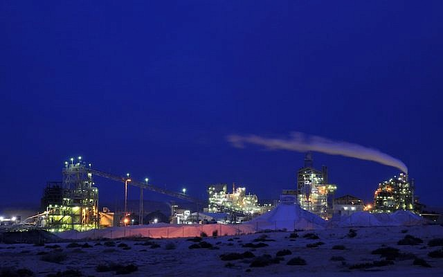 Nighttime view of an offshore mining facility ( Photo credit: Shay Levy/ Flash90)
