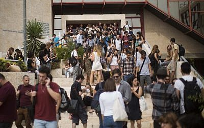 Students at Jerusalem's Hebrew University, October 21 (photo credit:  Yonatan Sindel/Flash90)