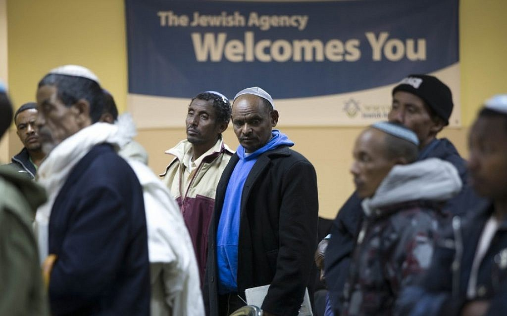 Ethiopian immigrants at an event marking the Sigd holiday in Mevaseret Zion, November 11, 2012. (photo credit: Yonatan Sindel/Flash90)
