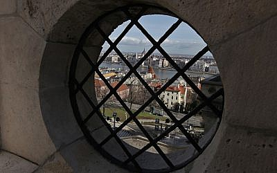 Budapest, the Danube river and the Hungarian parliament, as seen through a window of the Fishermen's Bastion. (photo credit: Dror Garti/Flash90)