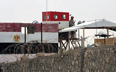 Watchtower of the Egyptian army at the border with Rafah, in the southern Gaza Strip, on February 19, 2013 (photo credit: Abed Rahim Khatib/Flash90)