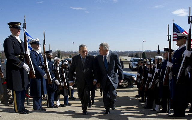 Secretary of Defense Hagel alongside Israel's previous defense minister, Ehud Barak, in early March at the Pentagon (Photo credit: Erin A. Kirk-Cuomo/ Ministry of Defense/ Flash 90)
