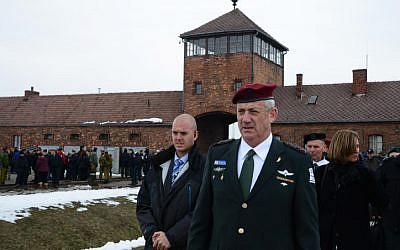 IDF Chief of Staff Benny Gantz visiting the Auschwitz death camp in Poland, as he takes part in the 'March of the Living' on the eve of Holocaust Remembrance Day, April 7, 2013. (photo credit: Moshe Milner/GPO/Flash90)