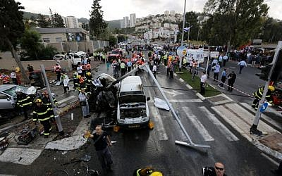 The scene of a deadly accident near Haifa on April 10, 2013. (photo credit: Flash90)