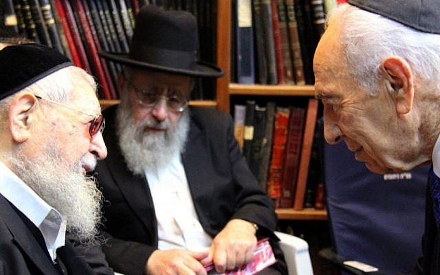 Rabbi Dov Yosef, center,seen with his father Rabbi Ovadia Yosef, left, and President Shimon Peres  (photo credit: Yosef Avi Yair Engel/GPO/Flash90)