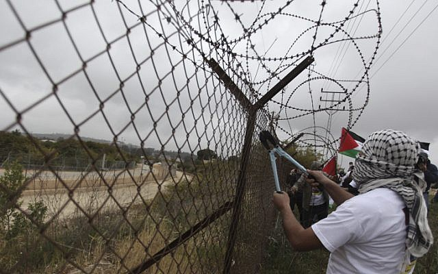 A Palestinian protester cuts part of the security barrier near the West Bank city of Ramallah on April 17. (photo credit: Issam Rimawi/Flash90)