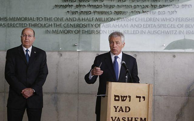 US Defense Secretary Chuck Hagel and Israeli Defence Minister Moshe Yaalon visit the Yad Vashem Holocaust Memorial Museum in Jerusalem, April 21 (photo credit: Miriam Alster/Flash90)