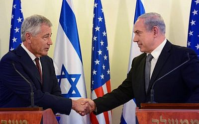 Prime Minister Benjamin Netanyahu (right) with US Secretary of Defense Chuck Hagel during a meeting in Jerusalem on April 23, 2013. (photo credit: Moshe Milner/GPO/Flash90)
