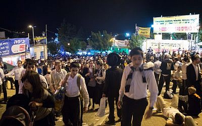 Hundreds of thousands of people participate in Lag B'Omer celebrations on Mt. Meron, Sunday, April 28 (photo credit: Sarah Schuman/ Flash90)