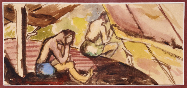 A scene from internment by Wolfgang Gerson, watercolor on toilet paper, from Camp N in Sherbrooke, Quebec, circa 1940-1942. Gerson gave lectures to fellow internees while imprisoned in camps in Quebec and Ontario and painted on whatever he could due to the scarcity of paper. (photo credit: Jessica Bushey/Courtesy the Gerson family)