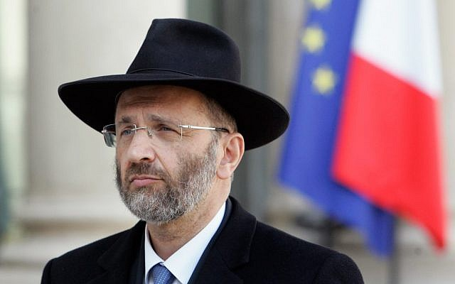 Gilles Bernheim, the chief rabbi of France, leaving the Elysee Palace in Paris after meeting with then-French President Nicolas Sarkozy, March 21, 2012. (photo credit: Franck Prevel/Getty via JTA)