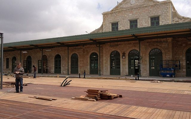 An inside view of the train station, still under construction (photo credit: Jessica Steinberg/Times of Israel)