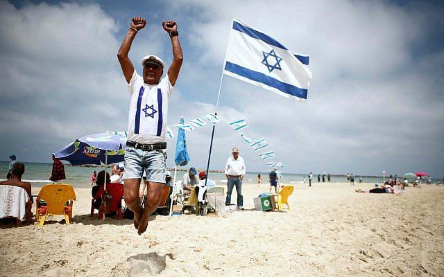 Israelis celebrating Israel's 64th Independence Day in Tel Aviv, April 2012. (photo credit: Yehoshua Yosef/Flash90)