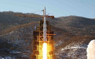North Korea's Unha-3 rocket lifts off from the Sohae launch pad in Tongchang-ri, North Korea, in 2012. (AP/KCNA, File)