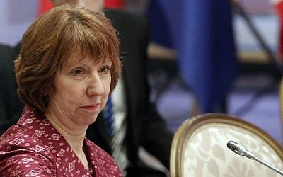 EU foreign policy chief Catherine Ashton, Friday, April 5, 2013. (photo credit: AP/Shamil Zhumatov)