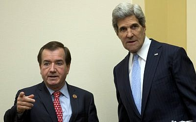 Secretary of State John Kerry, right, with House Foreign Affairs Committee Chairman Rep. Edward Royce. (photo credit: AP/Carolyn Kaster)