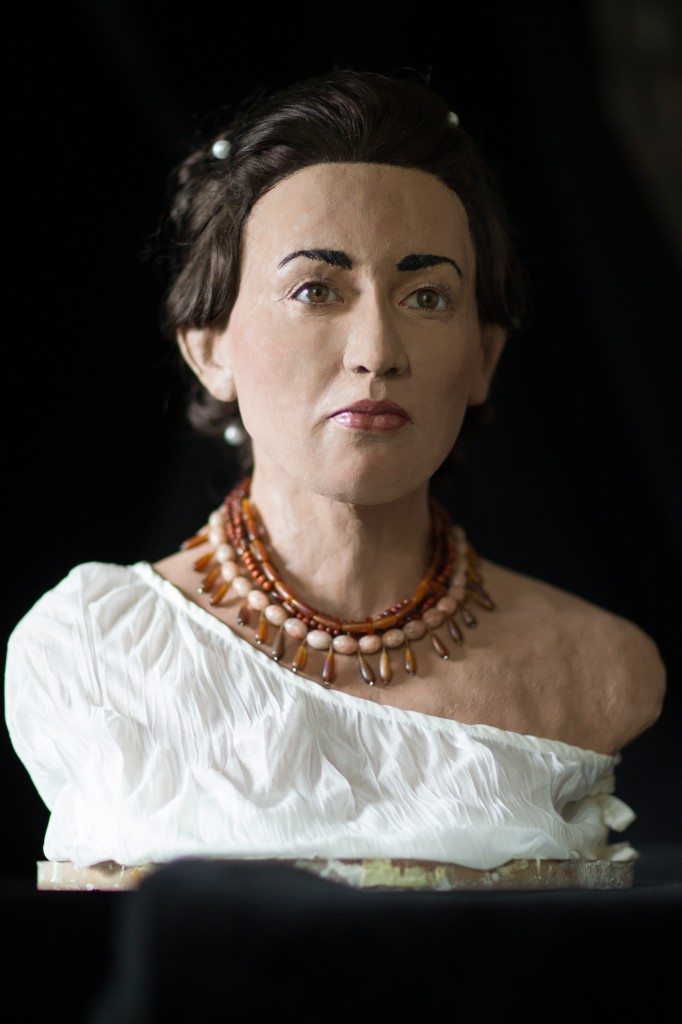 The reconstructed face of a woman believed to be a Philistine, unveiled in Jerusalem on Thursday to promote a new TV series (photo credit: Courtesy of Associated Producers)
