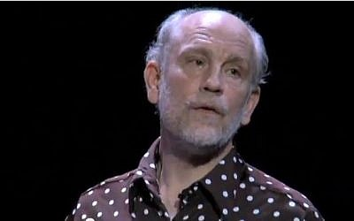 John Malkovich in a stage production of 'The Infernal Comedy -- Confessions of a Serial Killer' (photo credit: screen capture/YouTube)
