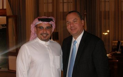 Rabbi Marc Schneier with Crown Prince of Bahrain Salman bin Hamad Al Khalifa, who is also deputy supreme commander and first deputy prime minister (photo credit:  courtesy Foundation for Ethnic Understanding)