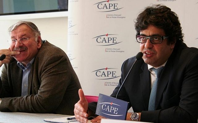 Meyer Habib, right, vice president of the CRIF umbrella body of French Jewish communities, speaking at a news conference in Paris in 2009. (photo credit: Courtesy of CAPE - Centre d'Accueil de la Presse Etrangère/JTA)