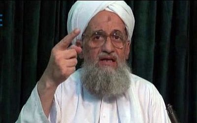 Illustrative: Al-Qaeda leader Ayman Al-Zawahiri in a still image from a web posting by the terrorist organization's media arm, as-Sahab, July 27, 2011. (AP)