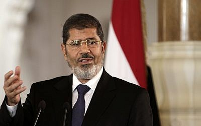 Ousted Egyptian president Mohammed Morsi (photo credit: AP/Maya Alleruzzo/File)