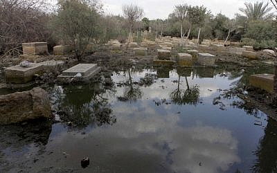 A general view of damaged tombs and fetid water at the Jewish cemetery, in Cairo, Egypt, Thursday, April 18 (photo credit: AP/Amr Nabil)