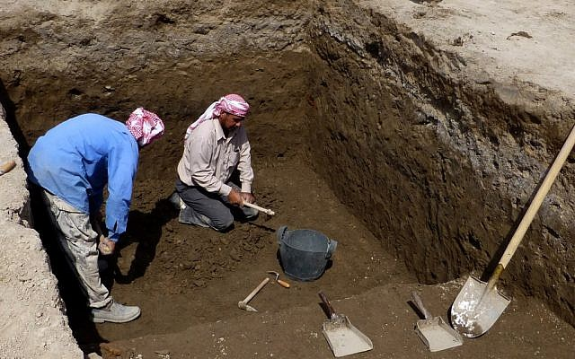 The excavation in progress at Tell Khaiber, Iraq, on March 31, 2013. (photo credit: AP Photo/Stuart Campbell)