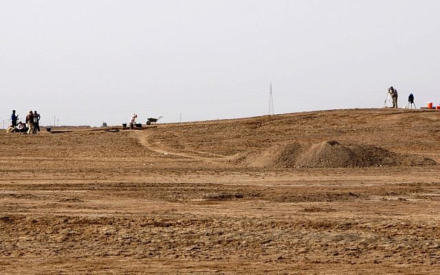Excavation in progress at Tell Khaiber, Iraq, March 31, 2013 (photo credit: AP/Stuart Campbell)