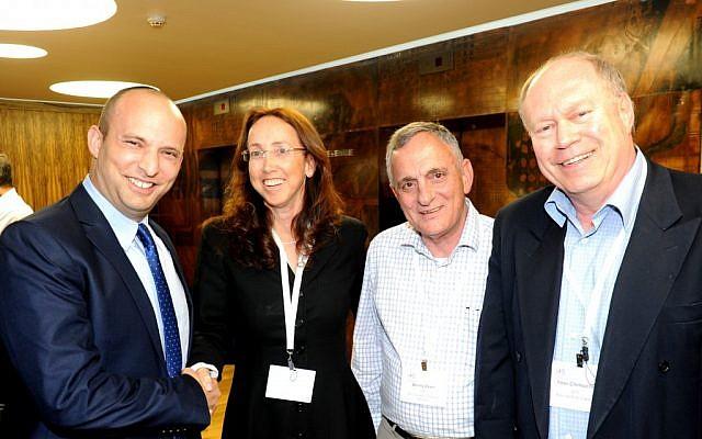 Economics Minister Naftali Bennett; IATI CEO Karin Mayer Rubinstein; Dr. Beeny Zeevi Co-Chairperson of the IATI; Yoav Chelouche, Co-Chairperson of the IATI (Photo credit: Courtesy)
