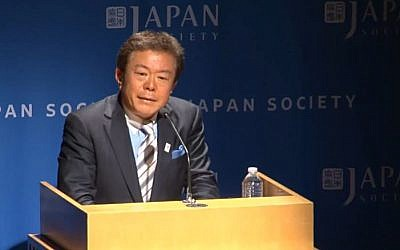 Governor of Tokyo Naoki-Inose, April 2013. (screen capture: Youtube/JapanSocietyNYC)