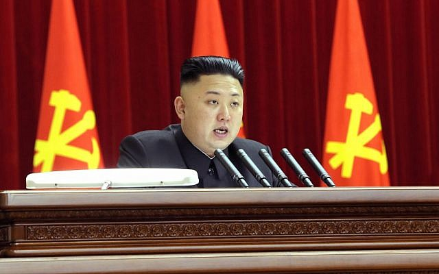 North Korean leader Kim Jong-un gives a speech during a plenary meeting of the central committee of the ruling Workers' Party in Pyongyang, North Korea, on March 31, 2013. (photo credit: AP/KCNA via KNS)