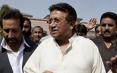 Pakistan's former President and military ruler Pervez Musharraf arrives under tight security to address supporters at his house on the outskirts of Islamabad, Pakistan (photo credit: AP/B.K. Bangash)