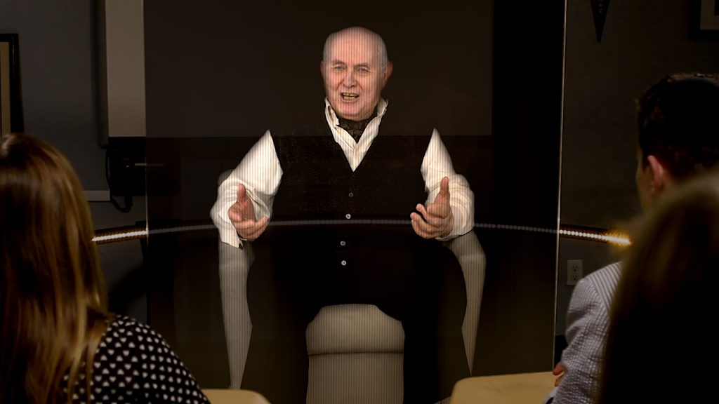 Holocaust survivor Pinchas Gutter as appearing on the hologram-like interactive presentation developed by the USC Shoah Foundation. (photo credit: USC Institute for Creative Technology)
