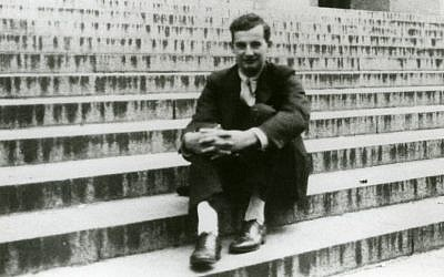 Raoul Wahlenberg sitting on the steps of Angell Hall, one of the primary academic buildings of the University of Michigan. (photo credit: courtesy)