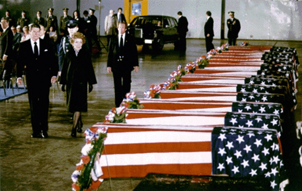 President Ronald Reagan and his wife Nancy view the caskets of American diplomats killed in the 1983 bombing of the US Embassy in Beirut, Lebanon (photo credit: Ronald Reagan Presidential Library)