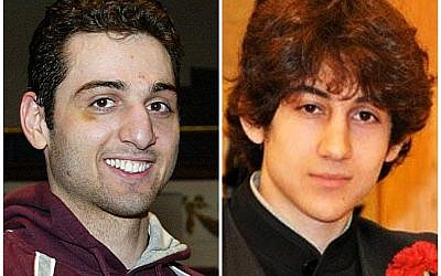 This composite photograph shows Tsarnaev Tamerlan, 26 (left), and Dzhokhar Tsarnaev, 19, suspected of carrying out the Boston Marathon bombing (photo credit: AP/The Lowell Sun & Robin Young)