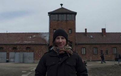 Dan Kanter, musical director and lead guitarist for Justin Bieber, tours Auschwitz in Poland during the Passover holiday 2013 (photo credit: Courtesy/Schnur Associates/March of the Living)