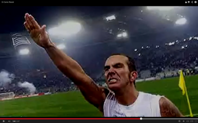 Paulo Di Canio gives a straight-arm salute in 1995 (photo credit: YouTube screenshot)