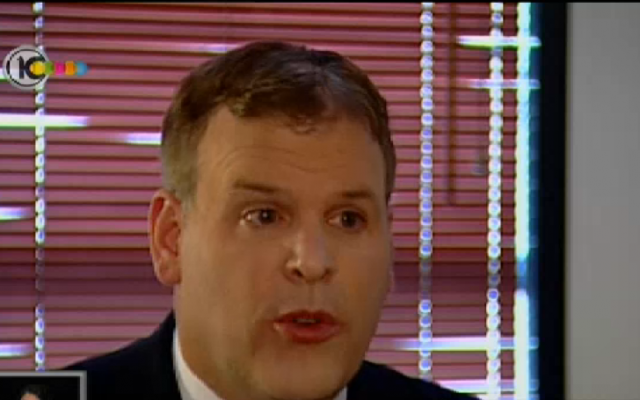 Canadian Foreign Minister John Baird, interviewed on Channel 10 on April 8, 2013 (photo credit: Channel 10 Screen Shot)